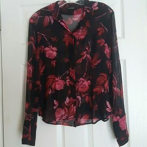 Express womens black pink floral blouse size 7/8